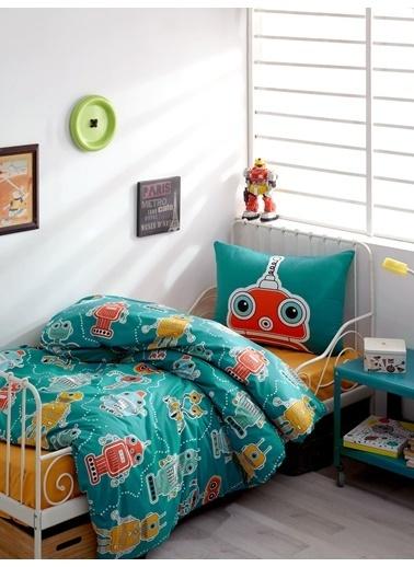 EnLora Home %100 Doğal Pamuk Nevresim Seti Tek Kişilik Robotte Yeşil Yeşil